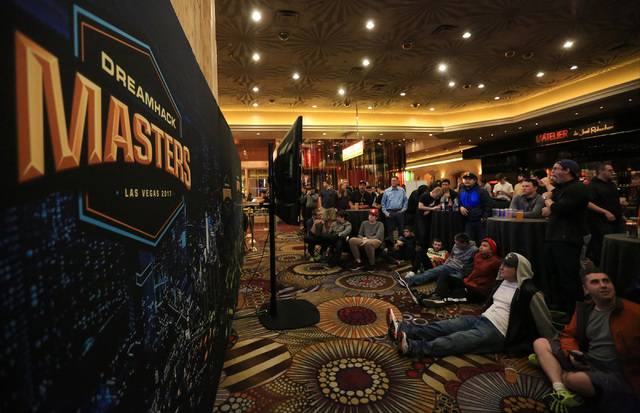 Fans gather to watch Cloud9 play Ninjas in Pyjamas during the group stage of DreamHack Masters Las Vegas at the MGM Grand hotel-casino in Las Vegas on Friday, Feb. 17, 2017. The playoff rounds of  ...