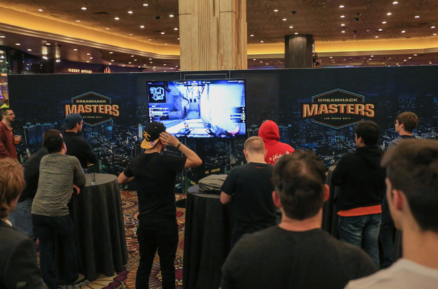 Fans watch Virtus.pro play Fnatic during the group stage of DreamHack Masters Las Vegas at the MGM Grand hotel-casino in Las Vegas on Friday, Feb. 17, 2017. The playoff rounds of the tournament wi ...