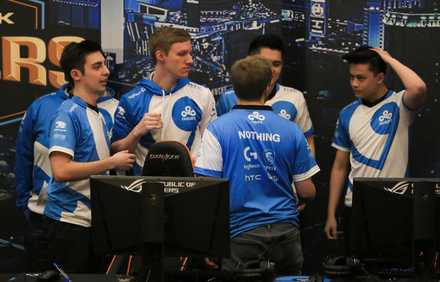 Cloud9 gathers huddles up after being Ninjas in Pyjamas 16-2 in the first game of a best of three match during the group stage of DreamHack Masters Las Vegas at the MGM Grand hotel-casino in Las V ...