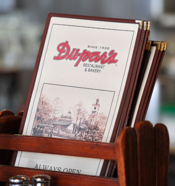 Menus are on display at Du-Par's Restaurant & Bakery inside Golden Gate on Friday, Aug. 8, 2014, in Downtown Las Vegas. (David Becker/Las Vegas Review-Journal)