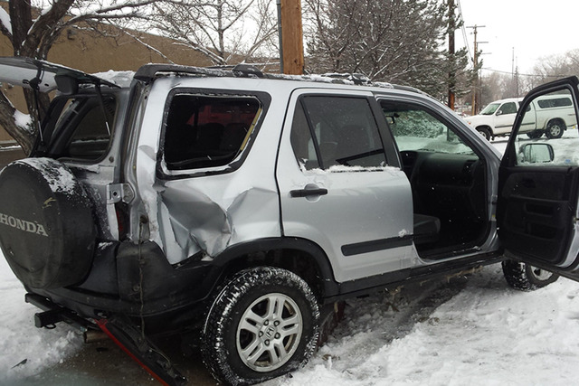 Sherry Stafford's Honda CR-V was totaled after a state transportation supervisor, who had three DUI arrested, crashed his state-owned Ford Explorer into her SUV parked on a Carson City street. (Sh ...