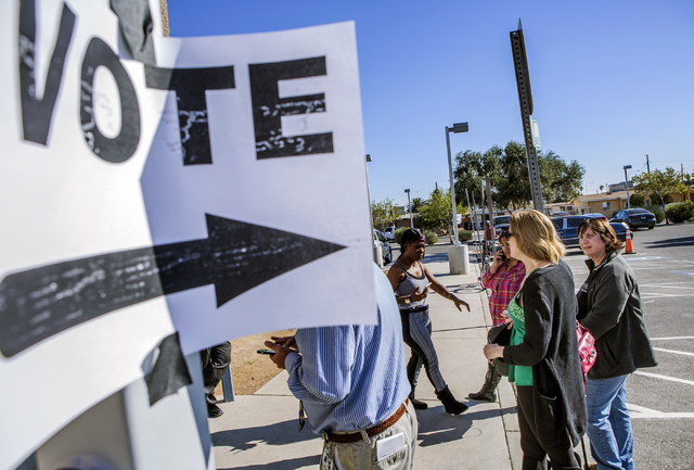 An independent film crew who is documenting homeless voter stands outside a polling location at Wendell Williams Elementary School on Tuesday, Nov. 8, 2016, 2016. The film crew was not allowed ins ...