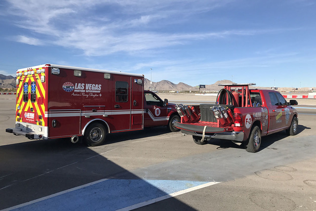 First responders at Exotics Racing are part of the same team that works at the Las Vegas Motor Speedway for NASCAR races. (Exotics Racing)