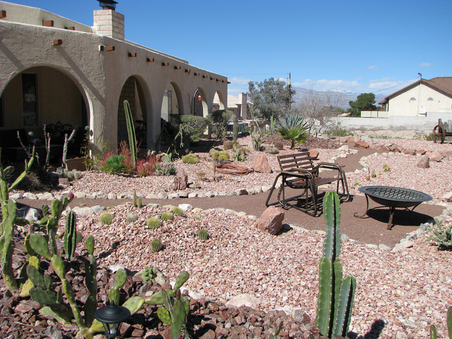 The front yard at Barb Eagan's home on the foothills of Frenchman Mountain feels inviting despite the scores of cactus. (F. Andrew Taylor/View) @FAndrewTPress