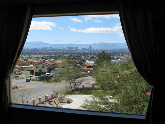 The view from a top floor window at Jay Wittwer's home on the foothills of Frenchman Mountain is typical for the neighborhood. (F. Andrew Taylor/View) @FAndrewTPress