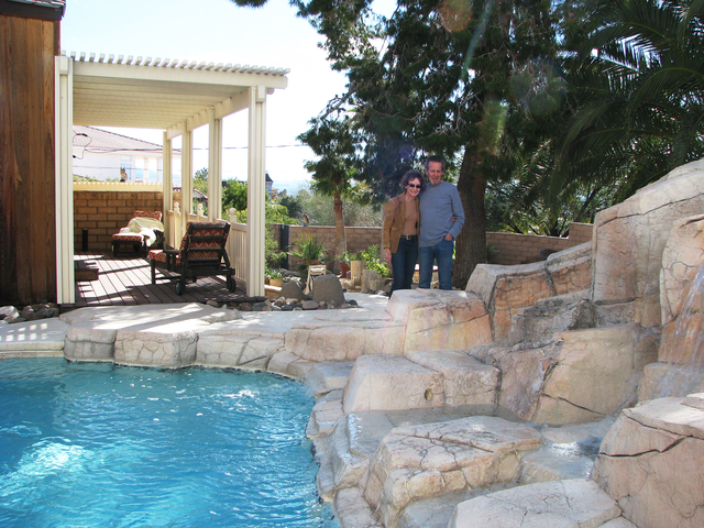 Ron and Jocelyn Jensen had the pool at their home on the foothills of Frenchman Mountain reduced and added a waterfall feature. (F. Andrew Taylor/View) @FAndrewTPress