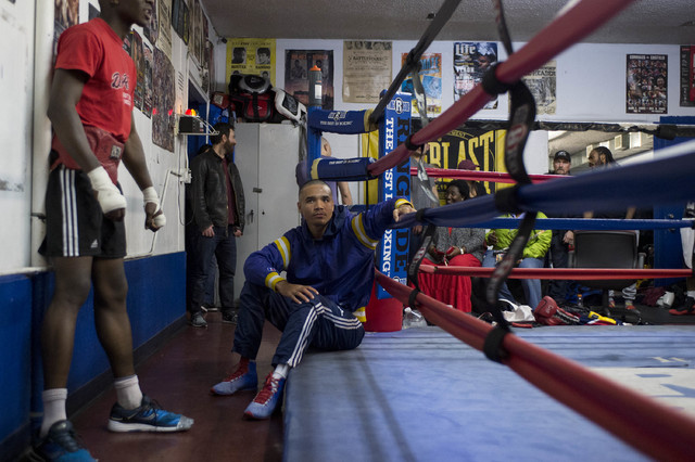 Rahim Gonzales rests prior to a night of sparring at Johnny Tocco's Ringside Gym in Las Vegas on Friday, Feb. 3, 2017. (Bridget Bennett/Las Vegas Review-Journal) @bridgetkb
