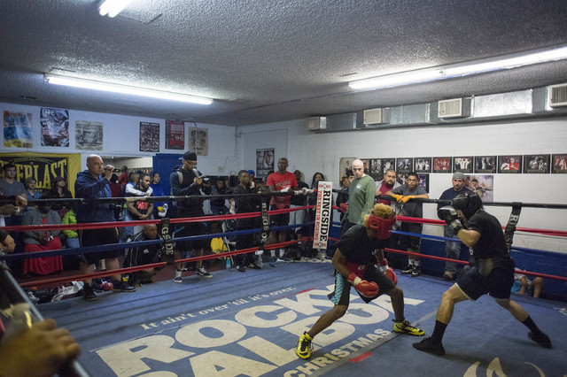 A large crowd is gathered to watch a bout at Johnny Tocco's Ringside Gym in Las Vegas on Friday, Feb. 3, 2017. (Bridget Bennett/Las Vegas Review-Journal) @bridgetkb