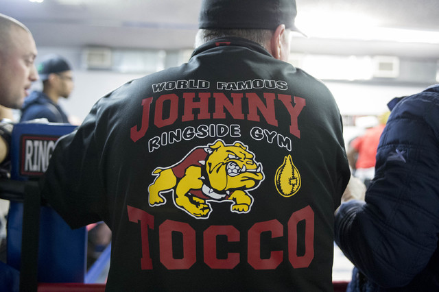 A trainer wears a shirt with the name of the gym on the back at Johnny Tocco's Ringside Gym in Las Vegas on Friday, Feb. 3, 2017. (Bridget Bennett/Las Vegas Review-Journal) @bridgetkb