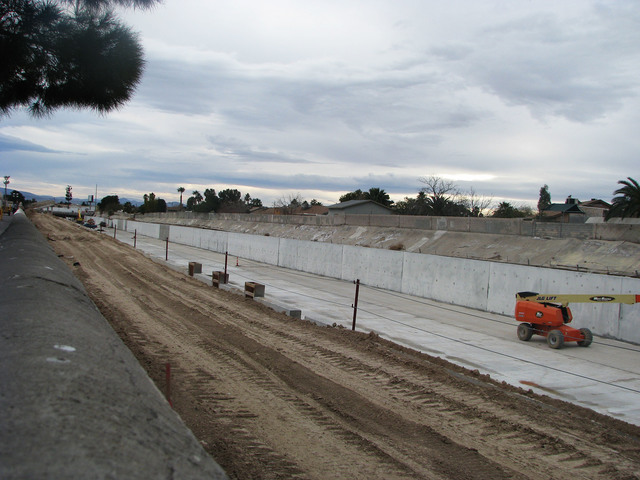 One of the last sections of the Las Vegas Wash to be channelized is near completion near Stewart Avenue west of Nellis Boulevard. (F. Andrew Taylor/View)