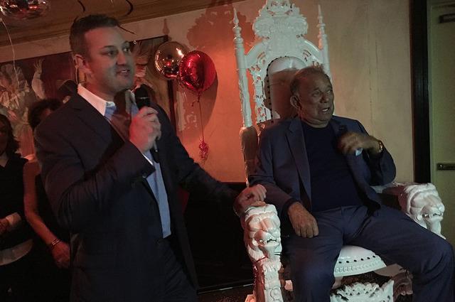 Evan Glusman, left, pays tribute to his father, Freddie Glusman, on the event of Freddie's 80th birthday at Piero's Italian Cuisine on Saturday, Feb. 11, 2017. (John Katsilometes/Las Vegas Review- ...