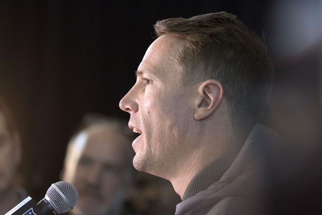 Atlanta Falcons quarterback Matt Ryan responds to media questions at the Westin hotel in Houston, Texas, on Jan. 31, 2017. (Heidi Fang/Las Vegas Review-Journal) @HeidiFang