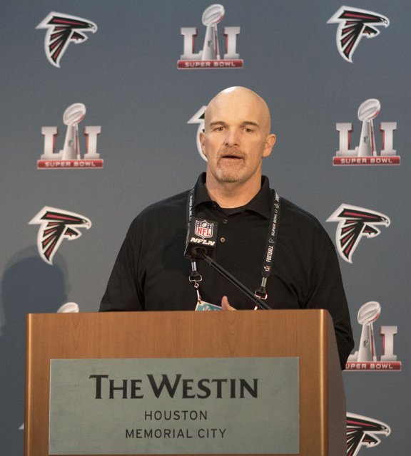 Atlanta Falcons head coach Dan Quinn answers questions about his team ahead of Super Bowl LI at a press conference at the Westin hotel in Houston, Texas, on Jan. 31, 2017. (Heidi Fang/Las Vegas Re ...