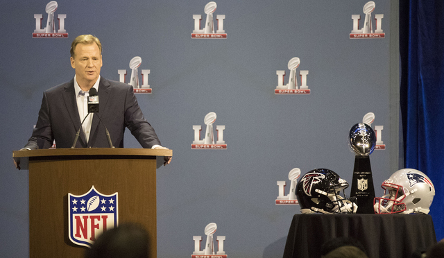 NFL Commissioner Roger Goodell answers questions from media during a press conference ahead of Super Bowl LI on Feb. 1, 2017 at the George R. Brown Convention Center in Houston, Texas. (Heidi Fang ...