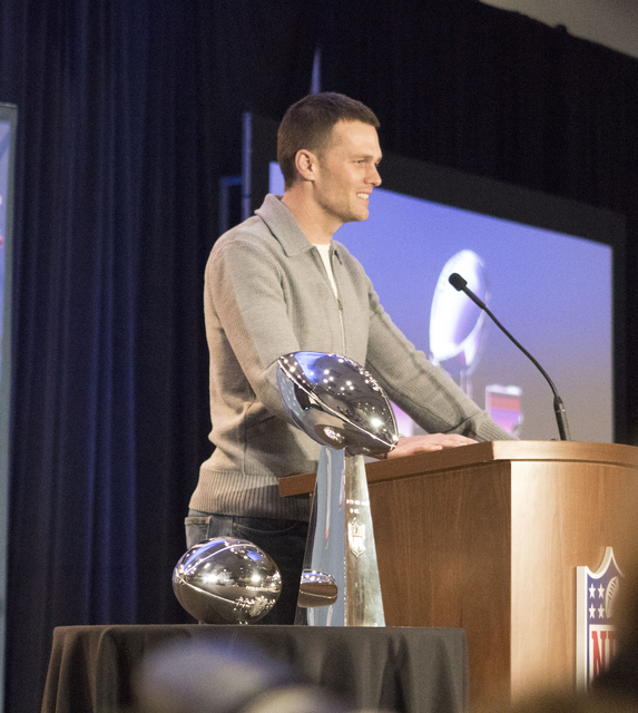 On Feb. 6, 2017, New England Patriots quarterback Tom Brady discusses his performance against the Atlanta Falcons in Super Bowl 51 which led to him being named the MVP at the George R. Brown Conve ...