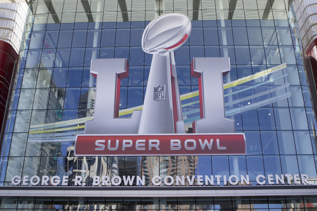 The entrance to the George R. Brown Convention Center in Houston, Texas, is adorned with Super Bowl LI insignia on Jan. 30, 2017. (Heidi Fang/Las Vegas Review-Journal) @HeidiFang