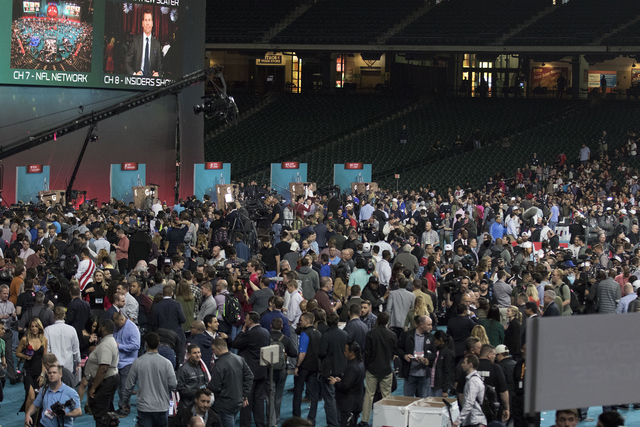 An overview of the crowd at Minute Maid Park in Houston, Texas, at Super Bowl Opening Night on Jan. 30, 2017. (Heidi Fang/Las Vegas Review-Journal) @HeidiFang