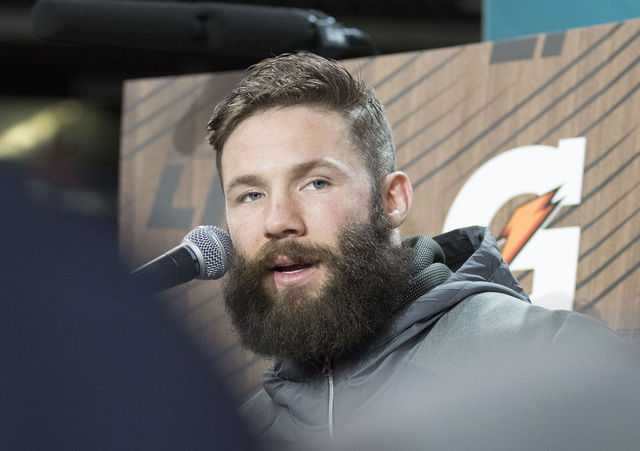 New England Patriots wide receiver Julian Edelman answers questions from media at Minute Maid Park in Houston, Texas, at Super Bowl LI Opening Night on Jan. 30, 2017. (Heidi Fang/Las Vegas Review- ...