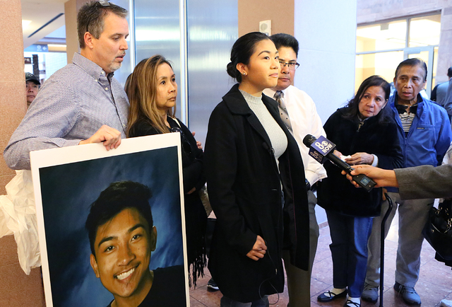 Alani Fajardo, center, sister of Jaelan Fajardo, who died in a crash caused by David Fensch, addresses the media as her stepfather, James Tierney, left, and her mother, Marsha Fajardo, look on, Mo ...