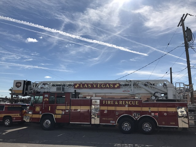 A fire truck is parked outside the church where the funeral service for a mother and daughter killed in an apartment fire on February 4, 2017. (Erik Verduzco/Las Vegas Review-Journal)