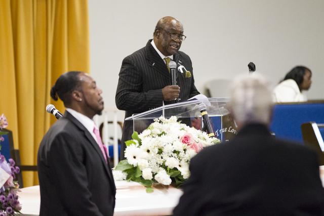 Pastor Larmar Simmons speaks during the funeral service for Diana Bankston and her 8-year-old daughter Kaysha Ray, at True Love Missionary Baptist Church, Saturday, Feb. 4, 2017, in Las Vegas. Ban ...