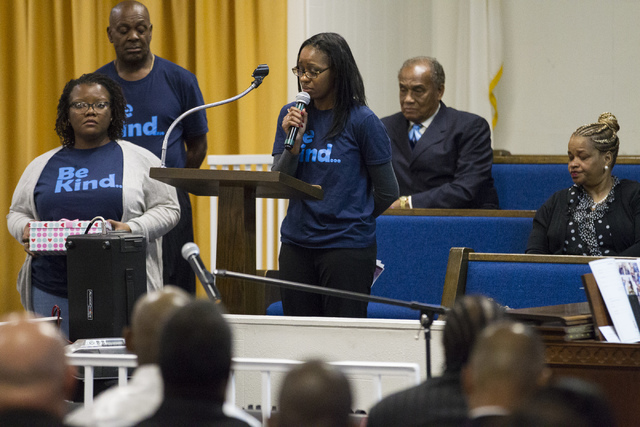 Alaina Criner, principal of Matt Kelly Elementary School, speaks during the funeral service for Diana Bankston and her 8-year-old daughter Kaysha Ray, who attended her school, at True Love Mission ...
