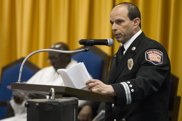 Eric Littman, president of Las Vegas Fire & Rescue Local 1285, speaks during the funeral service for Diana Bankston and her 8-year-old daughter Kaysha Ray, at True Love Missionary Baptist Chur ...