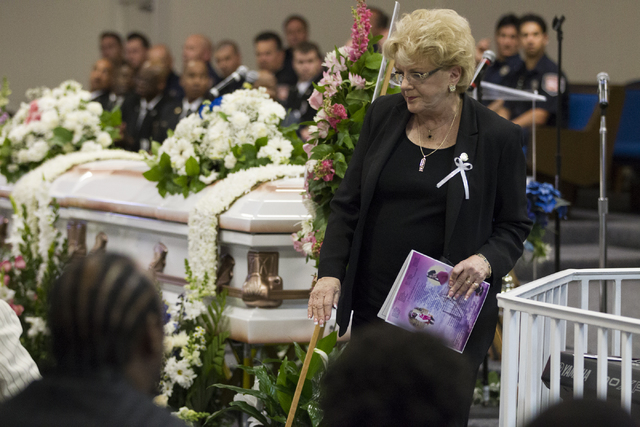 Las Vegas Mayor Carolyn Goodman attends the funeral service for Diana Bankston and her 8-year-old daughter Kaysha Ray, at True Love Missionary Baptist Church, Saturday, Feb. 4, 2017, in Las Vegas. ...