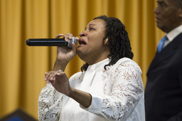 Laura Manson sings in the choir during the funeral service for Diana Bankston and her 8-year-old daughter Kaysha Ray, at True Love Missionary Baptist Church, Saturday, Feb. 4, 2017, in Las Vegas.  ...