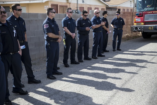 Members of the Las Vegas Fire Department attend the funeral service for Diana Bankston and her 8-year-old daughter Kaysha Ray, at True Love Missionary Baptist Church, Saturday, Feb. 4, 2017, in La ...