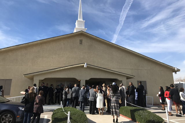 People arrive to the True Love Missionary Baptist Church for the funeral service of the mother and daughter killed in a central valley apartment fire on February 4, 2017. (Erik Verduzco/Las Vegas  ...