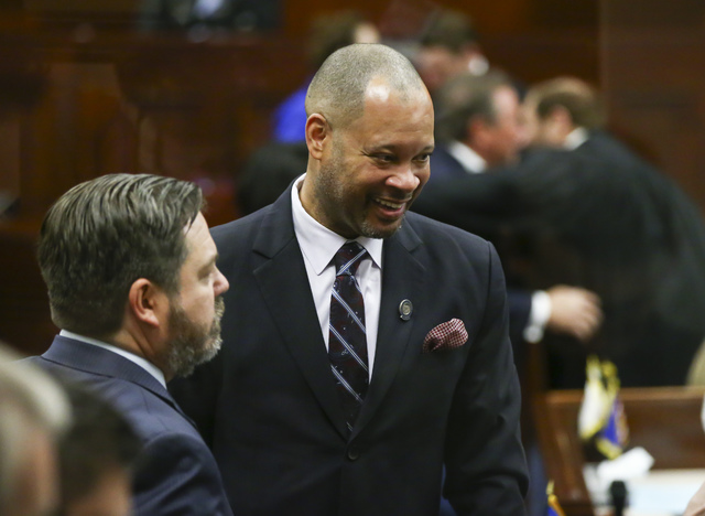 Nevada Senate Majority Leader Aaron Ford arrives for Nevada Gov. Brian Sandoval's final State of the State address at the Legislative Building in Carson City on Tuesday, Jan. 17, 2017. (Chase Stev ...