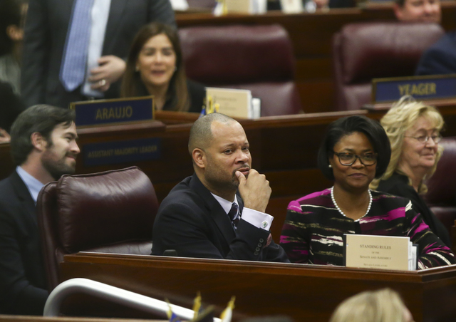 Nevada Senate Majority Leader Aaron Ford with wife Berna Rhodes-Ford during the State of the State address at the Legislative Building in Carson City on Tuesday, Jan. 17, 2017. (Chase Stevens/Las  ...