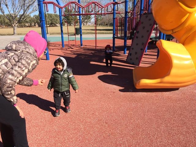 Sylvia Pistolesi watches her children play Jan. 10, 2017, at Vistas Park. (Jan Hogan/View)