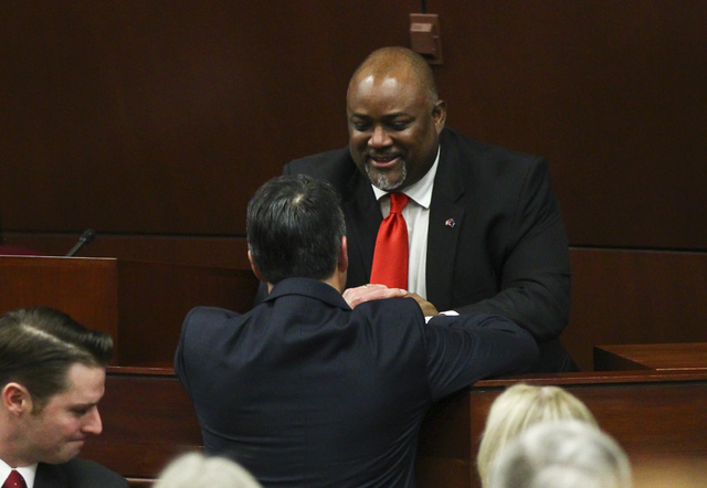 Assembly Speaker Jason Frierson greets Nevada Gov. Brian Sandoval following the State of the State address at the Legislative Building in Carson City on Tuesday, Jan. 17, 2017. (Chase Stevens/Las  ...