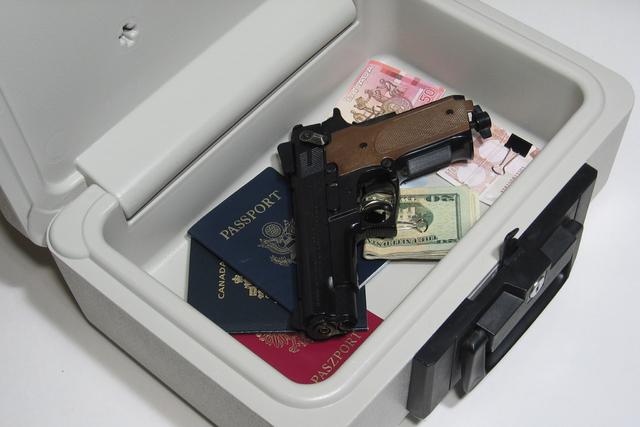 Gun in lock safe. (Thinkstock)
