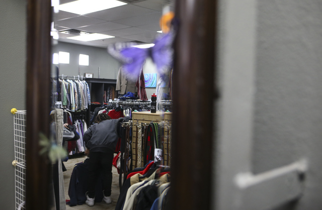 A student shops inside Betty's Boutique, run by Project 150, in Las Vegas on Thursday, Feb. 2, 2017. Project 150 provides local high school students in need with clothes, food and supplies. (Chase ...