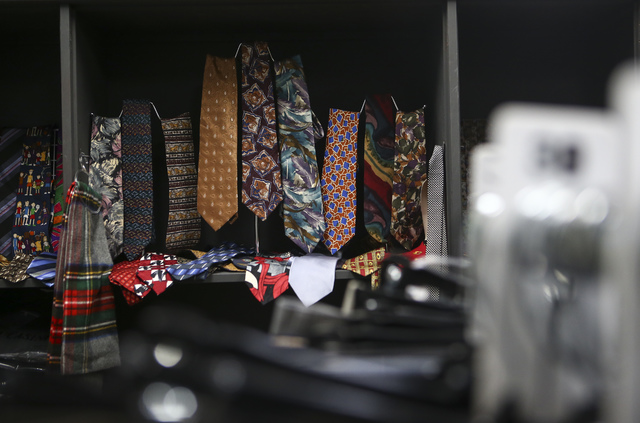 Ties on display inside Betty's Boutique, run by Project 150, in Las Vegas on Thursday, Feb. 2, 2017. Project 150 provides local high school students in need with clothes, food and supplies. (Chase ...