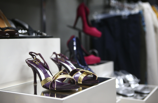Heels on display inside Betty's Boutique, run by Project 150, in Las Vegas on Thursday, Feb. 2, 2017. Project 150 provides local high school students in need with clothes, food and supplies. (Chas ...