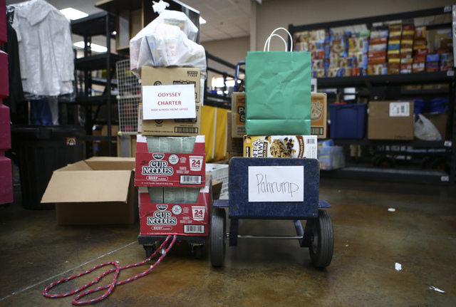 Donated items ready to be sent out to Pahrump at Project 150 in Las Vegas on Thursday, Feb. 2, 2017. Project 150 provides local high school students in need with clothes, food and supplies. (Chase ...