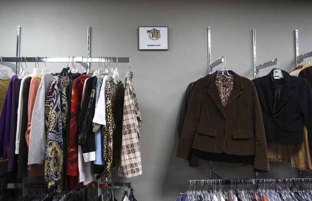 Blazers and blouses available inside Betty's Boutique, run by Project 150, in Las Vegas on Thursday, Feb. 2, 2017. Project 150 provides local high school students in need with clothes, food and su ...