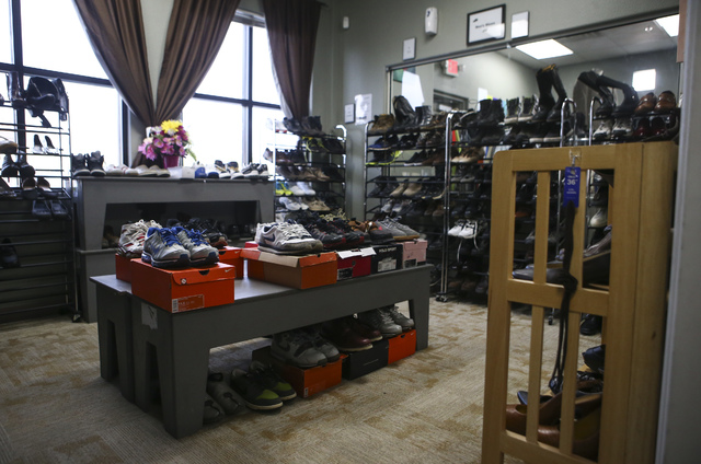 Shoes on display inside Betty's Boutique, run by Project 150, in Las Vegas on Thursday, Feb. 2, 2017. Project 150 provides local high school students in need with clothes, food and supplies. (Chas ...