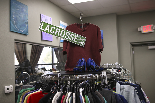 Items on display inside Betty's Boutique, run by Project 150, in Las Vegas on Thursday, Feb. 2, 2017. Project 150 provides local high school students in need with clothes, food and supplies. (Chas ...