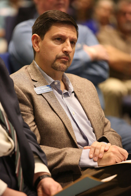 State Senator Mark Manendo, D-Las Vegas, attends a meeting organized by Nevadans for the Common Good to address the funding needed to support Meals on Wheels at Green Valley United Methodist Churc ...