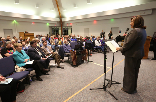 Henderson City Councilwoman Gerri Schroder speaks at a meeting organized by Nevadans for the Common Good to address the funding needed to support Meals on Wheels at Green Valley United Methodist C ...