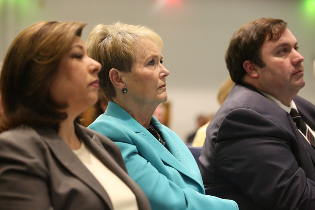 Boulder City Councilwoman Peggy Leavitt, center, attends a meeting organized by Nevadans for the Common Good to address the funding needed to support Meals on Wheels at Green Valley United Methodi ...