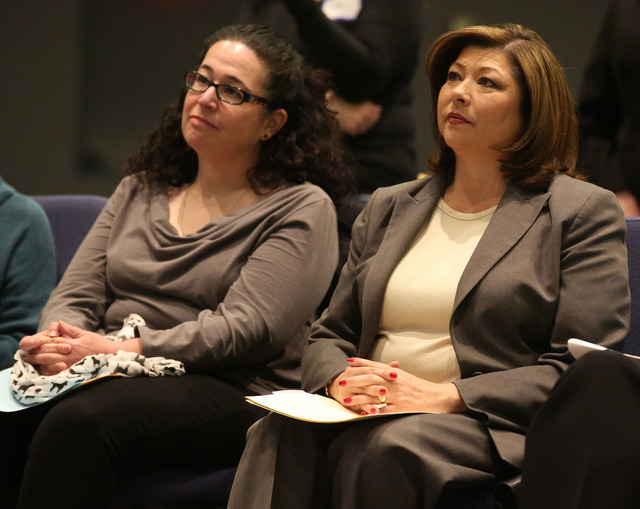 Assemblywoman Lesley Cohen, D-Henderson, left, and Henderson City Councilwoman Gerri Schroder attend a meeting organized by Nevadans for the Common Good to address the funding needed to support Me ...