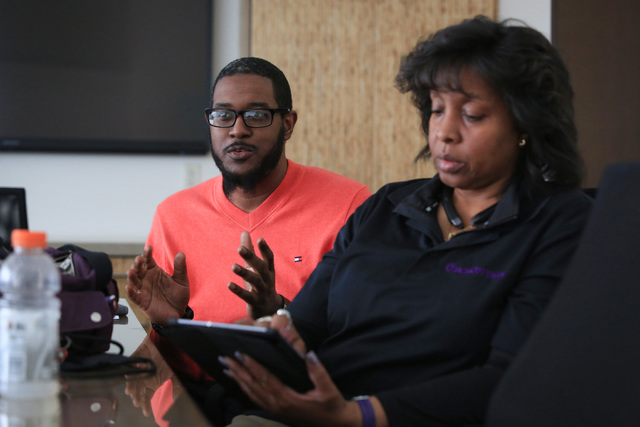 Alexis Cottman, right, and Quinzey Chandler talk about how they were evicted from a rental property without being given proper notice or legal recourse at the Legal Aid Center of southern Nevada o ...