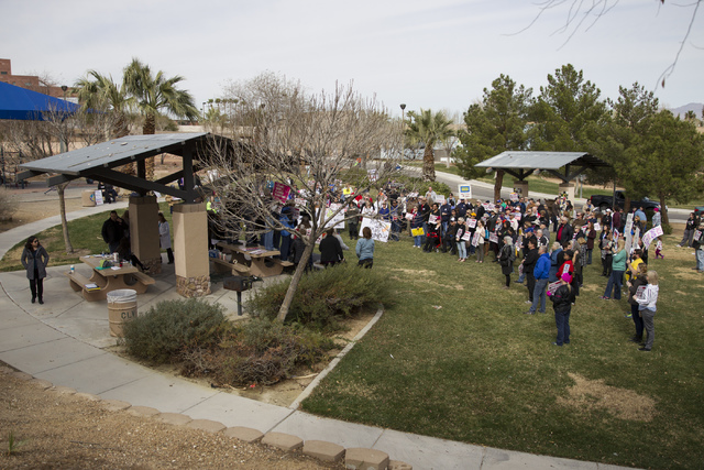 Las Vegas health care advocates protest changes to the Affordable Care Act during a rally at Heritage Park on Saturday, Feb. 25, 2017, in Las Vegas. (Erik Verduzco/Las Vegas Review-Journal) @Erik_ ...