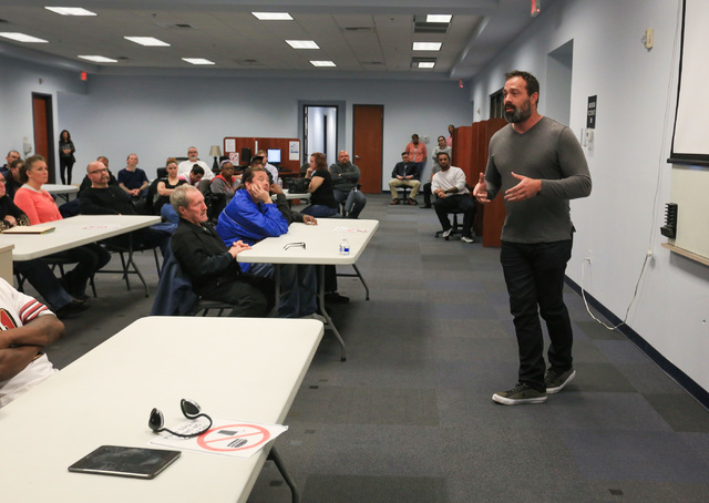Former Clark County Commissioner Dario Herrera gives a talk at one of the Foundation for an Independent Tomorrow's mentor meetings on Friday, Feb. 3, 2017, in Las Vegas. Herrera spent two years in ...